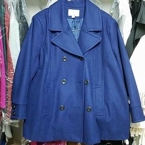 Wool Winter Short Coat Deep Royal Blue Plus Size